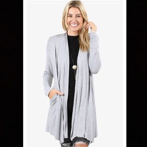 Sweaters - Long Open Front Cardigan in HEATHER GRAY